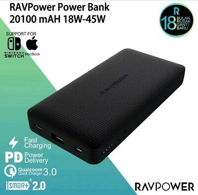 AU109.42 • Buy RAVPower 20100mAh PD 45W QC3.0 Quick Charge Dual USB Type-C Power Bank RP-PB095