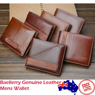 AU17.99 • Buy AU Stock Mens Wallet Genuine Leather Bifold Zip Coin Purse Card Photo Holder