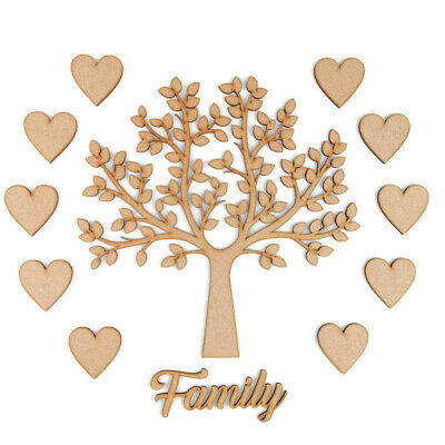 £3.10 • Buy Wooden MDF Family Tree Kit Set With Hearts Craft Blank Shapes Wedding Guestbook