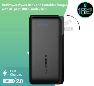 AU82.05 • Buy RavPower Power Bank 10000mAh 2 In 1 Power Bank And Wall Charger RP-PB066