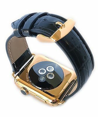 $ CDN1050.01 • Buy 24K Gold 42MM Apple WATCH SERIES 3 Stainless Steel Black Leather Alligator Band