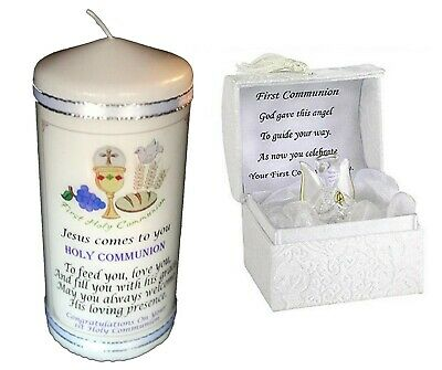 First  Holy Communion  Gift Candle & Crystal Angel  |Cellini 8 • 19.95£