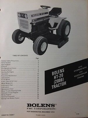 bolens fmc husky ht-20 lawn garden tractor owners manual 2086 large frame  19 9hp
