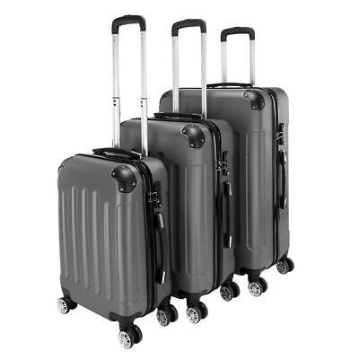 "View Details 3Pcs Luggage Set PC+ABS Trolley Spinner 20""24""28"" Suitcase Hard Shell Dark Gray • 79.99$"