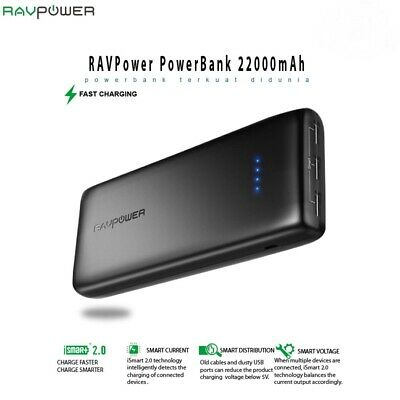 AU95.74 • Buy RavPower Power Bank 22000mAh Portable Smart Charging Battery Pack RP-PB052