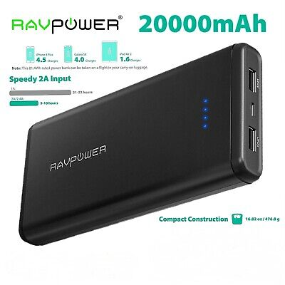 AU82.05 • Buy RAVPower 20000mAh USB External Battery Pack Dual ISmart 2.0 USB Ports Portable