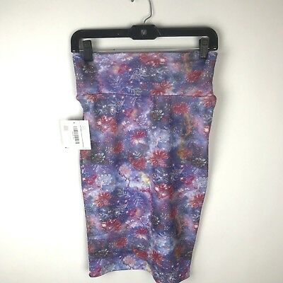 5c06a45283460 LULAROE Cassie Purple Floral Space Galaxy Fitted Stretch Pencil Skirt XS  New • 17.40$