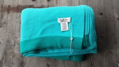 Caroline Grace Cotton-Cashmere Throw Turquoise With Green Border – New • 67.95£