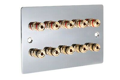 £30.79 • Buy 5.0 Flat Speaker Wall Face Plate Polished Mirror Chrome Non Solder