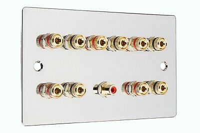 £31.34 • Buy 5.1 Speaker Audio Polished Chrome Flat Wall Face Plate Non Solder