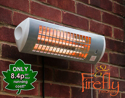 Firefly Wall Mounted Electric Patio Heater Tube Quartz Garden Outdoor 1.8kW • 44.99£