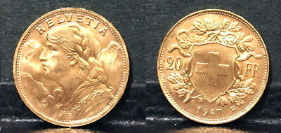$384.99 • Buy Swiss 1947 Lustrous Bu---a Post Ww-two Date Scarce Near Melt Gold 20 Franc  Coin