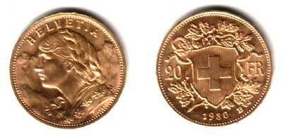 $374.99 • Buy Swiss 1930 Lustrous Bu---a Post Ww-one Date Scarce Near Melt Gold 20 Franc  Coin