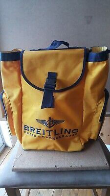 Breitling Swiss Chronograph Backpack Rucksack-yellow With Blue Stitch Monogram. • 70.22£