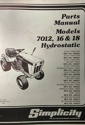 AU196.27 • Buy Simplicity 7012 7016 7018 Hydrostatic Tractor & Implements Parts (2 Manual S