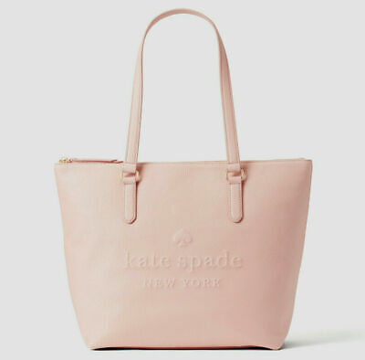 $ CDN168.45 • Buy NWT Kate Spade Larchmont Ave Logo Penny Pink/Beige Leather Large Tote WKRU5619