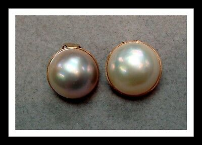 $350 • Buy Vintage 14 K Gold And Mabe Pearl Clip Earrings