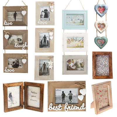 £9.99 • Buy Natural Wood Single Double Triple Photo Picture Frames Home Gifts Decorations