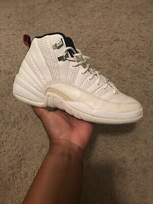 "6940fa64c8b636 Air Jordan 12 GS White Black Varsity-Red ""Rising Sun"" Size 6.5"