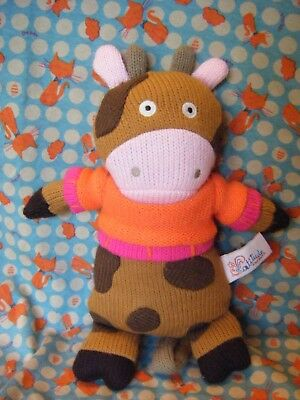 Latitude Enfants  Brown Knitted Cow   Soft Plush Toy 10  Approx VGC • 6.99£