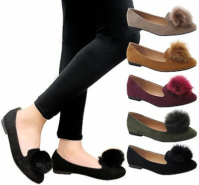 Ladies Womens Flat Sneaker Slip On Ballet Loafers PomPom Office Pumps Shoes Size • 9.99£