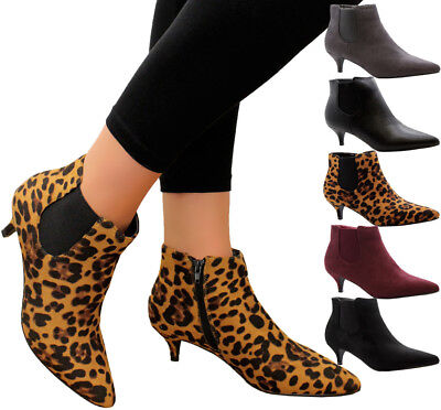 Ladies Womens Mid Kitten Heels Court Shoes Office Ankle Chelsea Boots Shoes Size • 14.95£