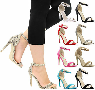 £11.99 • Buy Ladies Womens High Stiletto Heel Peep Toe Ankle Strappy Party Sandals Shoes Size