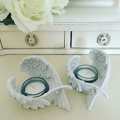 £9.95 • Buy White Angel Wings Tea Light Holder Votive Candle Home Decoration Gift PAIR