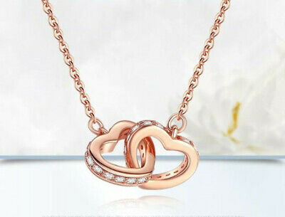 £4.29 • Buy Rose Gold Double Heart Pendant 925 Sterling Silver Necklace Women Jewellery Gift