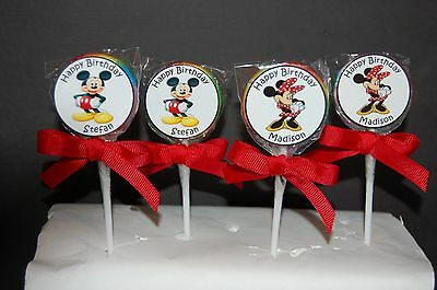 $17.25 • Buy 20 Mickey Mouse/Minnie Mouse Personalized Birthday Lollipops 10 Of Each