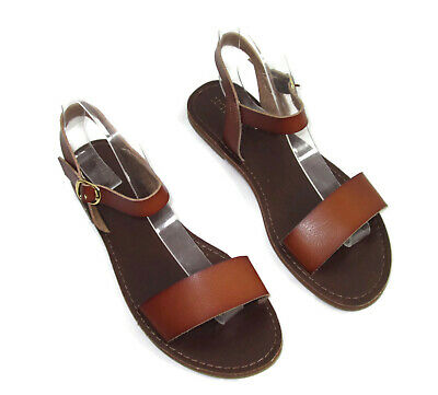 fb64864a6d56 Merona Sandals Shoes Size 8 Ankle Strap Womens Brown Faux Leather • 12.99