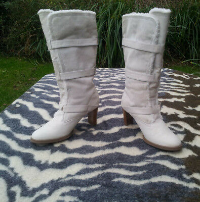 £45.99 • Buy Vintage London Rebel White/ivory Leather And Faux Fur Boots Size 5
