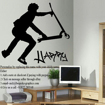 £19.49 • Buy Large Personalised Stunt Scooter Wall Sticker In Cut Matt Vinyl Decal
