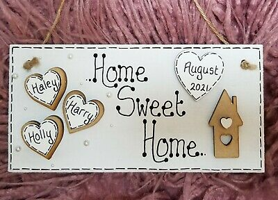 Personalised Home Sweet Home Family Hanging Plaque/Sign, Wooden, New Home Gift • 4.99£