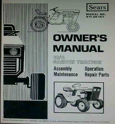 AU135.38 • Buy Sears Suburban 10/6 Lawn Garden Tractor & Implements Owner & Parts (4 Manual S)