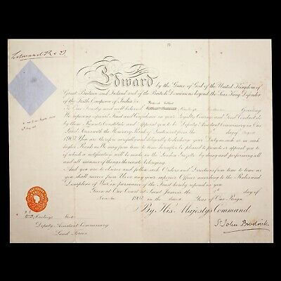 £263.43 • Buy King England Edward VII Signed Royal Military Document Autograph Queen Victoria