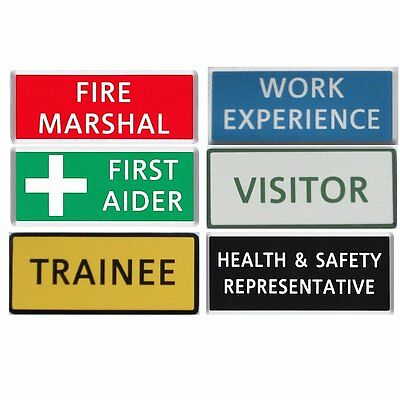 Engraved Name Badges - Health & Safety, First Aider, Fire Marshal, Fire Officer • 1£