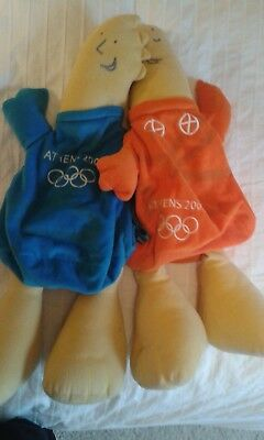 Athens Olympic Games Backpack Shoulder Mascots Phevos & Athena Rare Collector • 30£