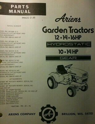 AU112.58 • Buy Ariens S-10G S-12 S-14 S-16 Lawn Garden Tractor & Implements Parts Manual 1976