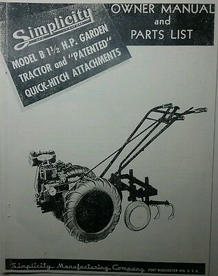 AU53.34 • Buy Simplicity 1947 (model B) Garden Tractor & Implements Owner & Parts Manual Wards