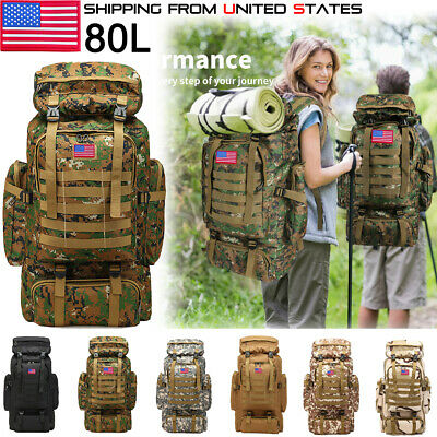 $30.91 • Buy 80L Outdoor Military Molle Tactical Backpack Rucksack Camping Bag Travel Hiking