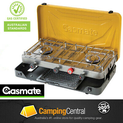 AU159.95 • Buy GASMATE 2 BURNER (WITH GRILL) Double Gas Camping Camp Portable Stove Cooker