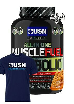 USN Muscle Fuel Anabolic Muscle Mass Catalyst 2kg & USN GYM T-SHIRT! • 34.99£