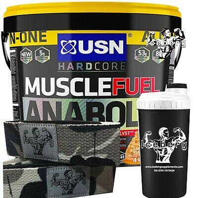 USN Muscle Fuel Anabolic 4kg -Protein Powder Mass Lifting Straps & Shaker! • 63.99£