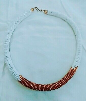 $29.99 • Buy Maasai Kenya African Jewelry Rope Beaded Necklace White Gold Beads