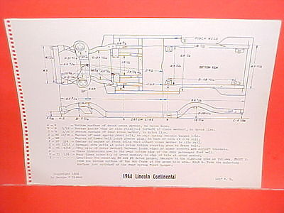$12.99 • Buy 1964 Lincoln Continental Convertible Hardtop Sedan Frame Dimension Chart