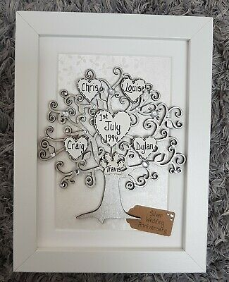 £19.99 • Buy 25th Wedding Anniversary Gift - Personalised Family Tree Frame, 25 Years, Silver