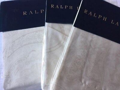 RALPH LAUREN DONCASTER CREAM PAISLEY SATIN Duvet Cover Set SUPERKING LUXURY • 429.99£