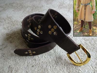 Medieval Brown Leather Long Belt With Studs Costume Re-enactment Stage LARP • 28£