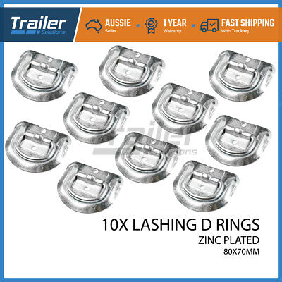 AU24.29 • Buy 10x Lashing D Ring Zinc Plated Tie Down Points Anchor Ute Trailer 80 X 70mm